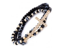 Black Bead Crystal Cross Stretch Bracelet
