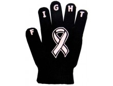 "Ladies Non-Skid Pink Ribbon Gloves ""Fight"" - Style 06"