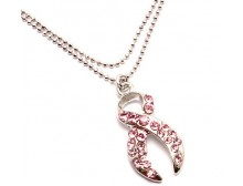 Pink Ribbon Anklet With Crystal Studded Charm