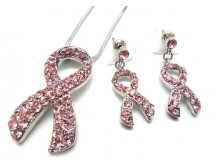 Pink Ribbon Crystal Stud Pendant & Earring Set
