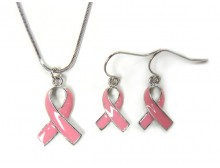 Pink Ribbon Pendant and Earrings Set - Silver Plated