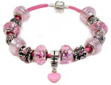 Heart Charm Light Pink Leather Bead Bracelet