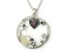 Long Round Pendant with Pink Ribbon Heart Charm