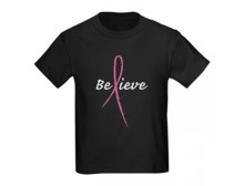 """Believe"" Pink Ribbon T Shirt"