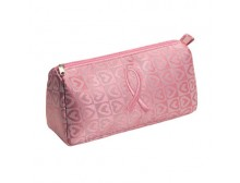 Pink Ribbon Cosmetic Bag with Hearts